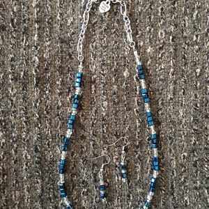 Jewelry Crafted in WI Jewelry - Rich Blue Handcrafted Necklace & Earring Set
